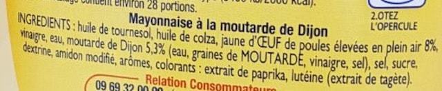 La liste d ingredients Mayonnaise-de-Dijon 2 - Sante d acier
