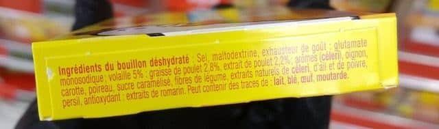 La liste d ingredients du Bouillon Deshydrate de Volaille Maggi 2 - Sante d acier