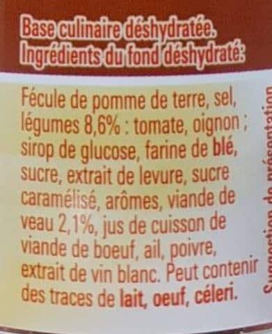 La liste d ingredients du fond de veau degraisse Maggi 2 - Sante d acier
