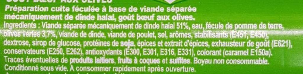 La liste d ingredients du saucisson isla delice 2 - Sante d acier