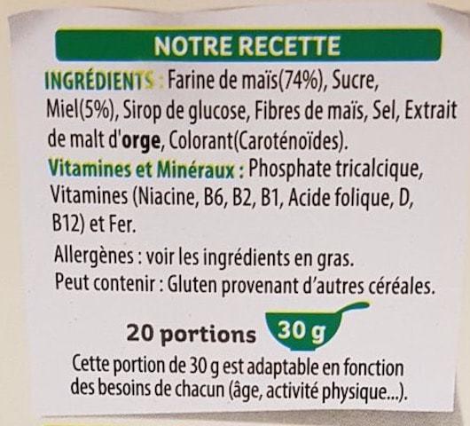 La liste d'ingrédient Miel pops 2
