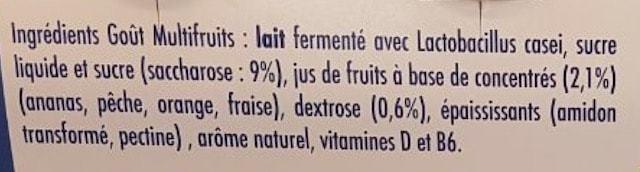 La liste d'ingrédients de Actimel 2 - Santé d'Acier