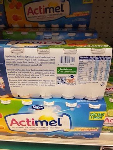 La liste d'ingrédients de Actimel - Santé d'Acier