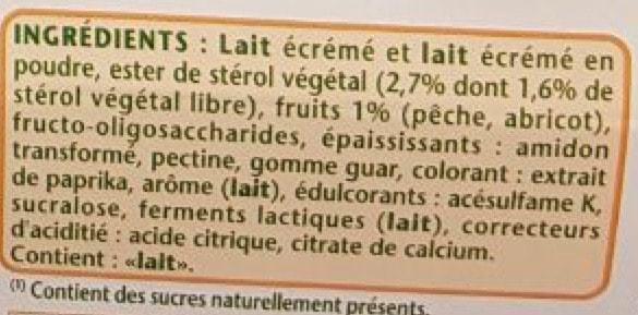 La liste d'ingrédients de Danacol 2 - Santé d'Acier