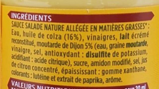La liste d'ingrédients de Lesieur-Moutarde-à-lancienne - Santé d'Acier