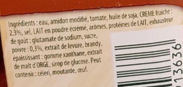 La liste d'ingrédients de la Sauce-au-poivre knorr 2 - Santé d'Acier