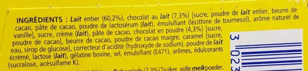 La liste d'ingrédients de la mousse au chocolat 2 - Santé d'Acier