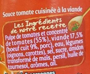 La liste d'ingrédients de la sauce bolognaise Panzani 2 - Santé d'Acier