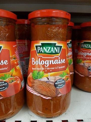 La liste d'ingrédients de la sauce bolognaise Panzani - Santé d'Acier