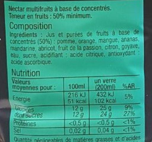 La liste d'ingrédients du Nectar-Passion 2 - Santé d'Acier