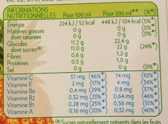 La liste d'ingrédients du Tropicana-Multivitamines 2 - Santé d'Acier