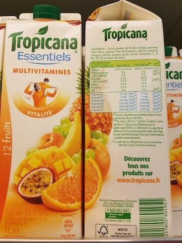 La liste d'ingrédients du Tropicana-Multivitamines - Santé d'Acier