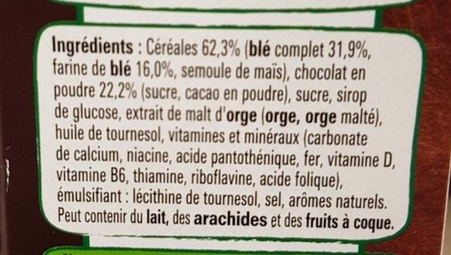 La liste d'ingrédients du chocapic 2 - Santé d'Acier