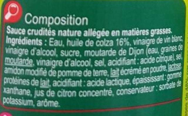 La liste d'ingredients Vinaigrette-Nature-Light 2 - Sante dacier