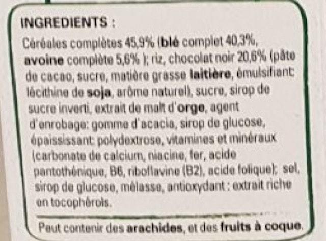 La liste d'ingredients des Spécial-K-Chocolat-Noir 2 - Sante d acier