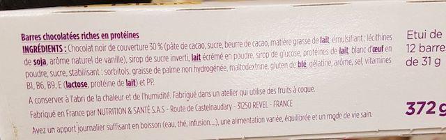 La liste d'ingredients des barres chocolatees gerlinea 2 - Sante d acier