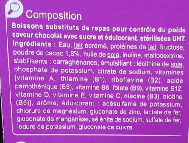 La liste d'ingredients des substituts de repas minceur 2 - Sante d acier