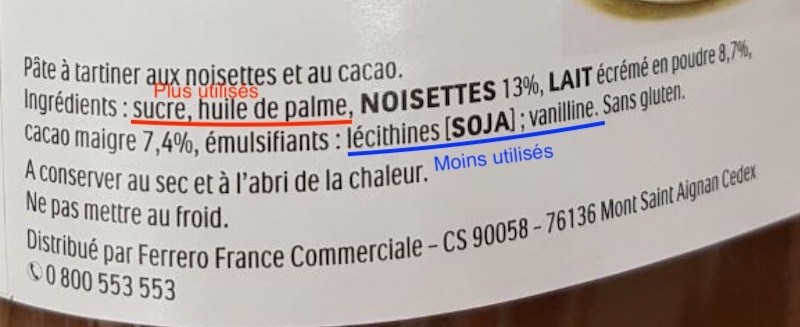 Liste d'ingrédient du Nutella - Sante d acier